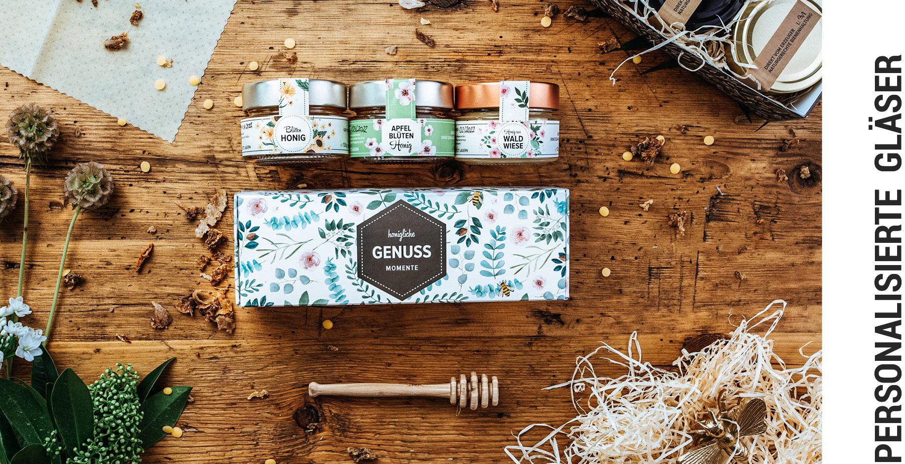 Bienenhof Zilletal personalisierte Honiggläser